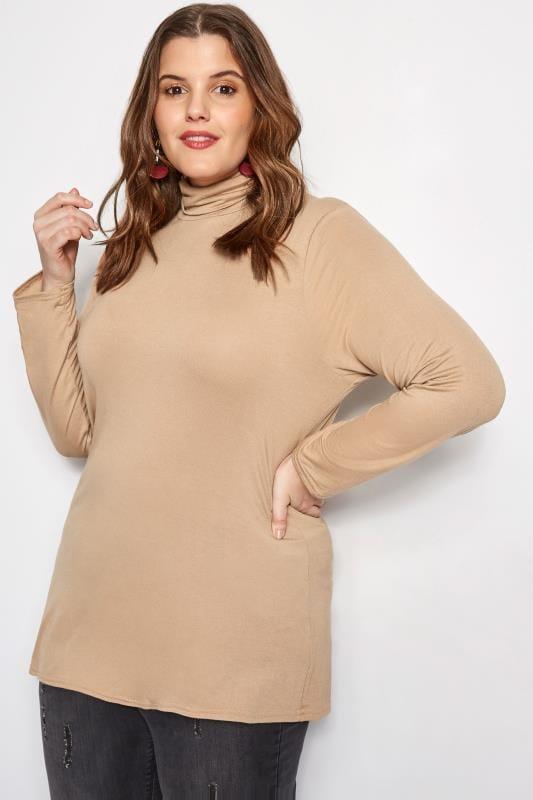 Plus Size Basic T-Shirts & Vests Camel Turtleneck Top