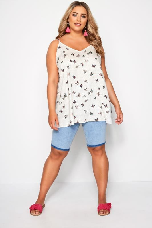 White Butterfly Spot Print Cami Top