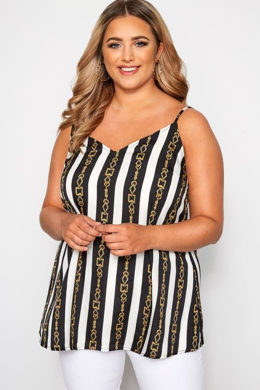 Plus Size Vests & Camis Black & White Stripe Chain Print Cami Top