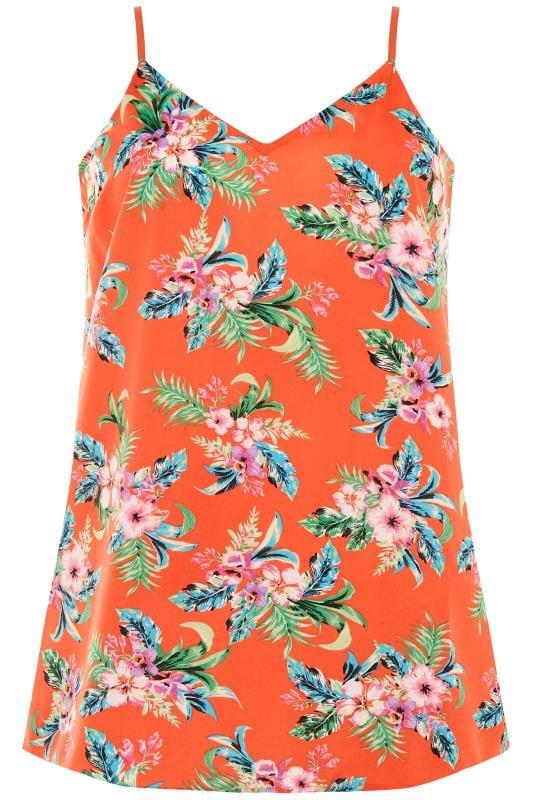 Orange Floral Print Cami Top