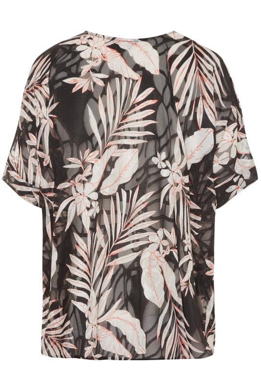 Black Palm Print Burnout Cape Top