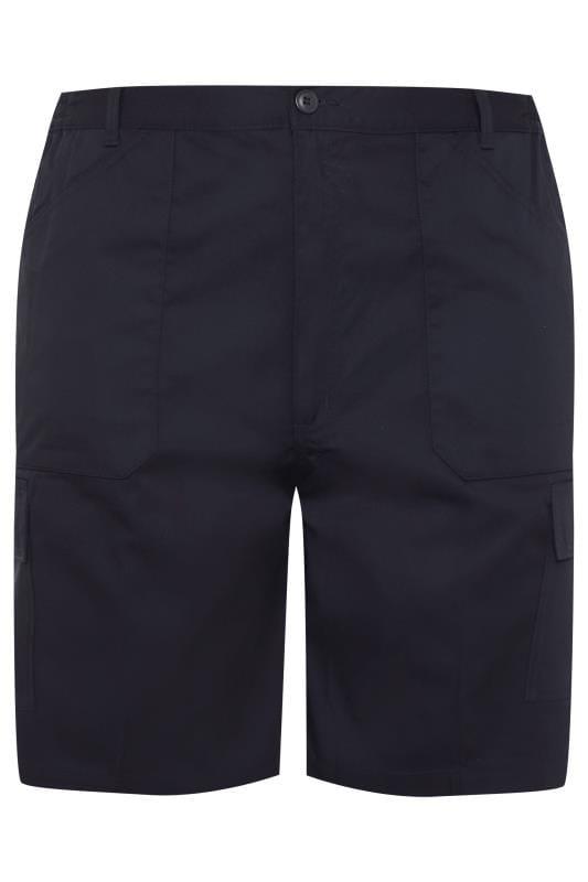 Plus Size Cargo Shorts CARABOU Navy Combat Shorts