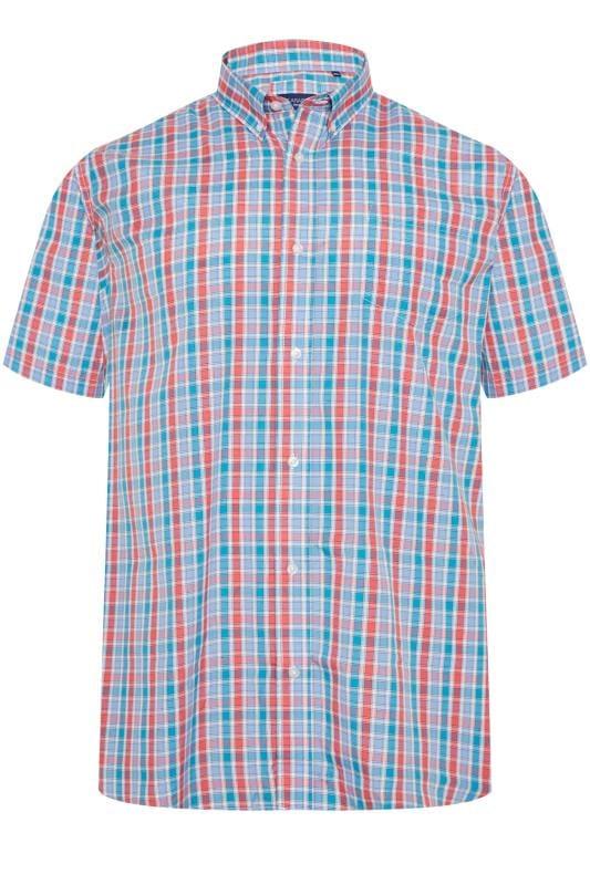 Casual Shirts CARABOU Blue & Red Check Short Sleeve Shirt 203497