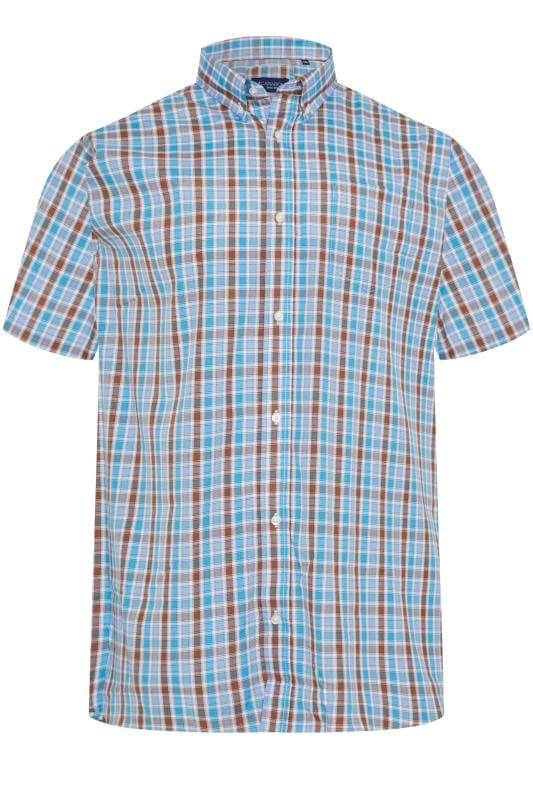 Plus Size Casual / Every Day CARABOU Blue & Brown Check Short Sleeve Shirt