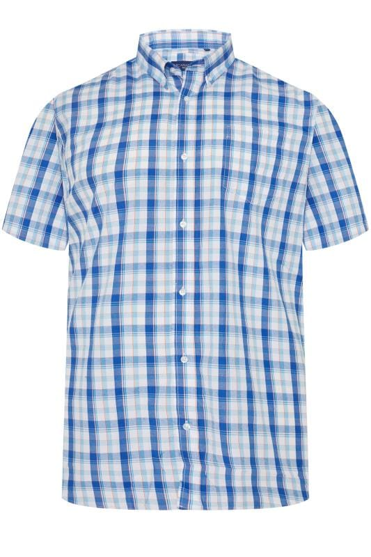 Plus-Größen Casual / Every Day CARABOU Blue Check Short Sleeve Shirt