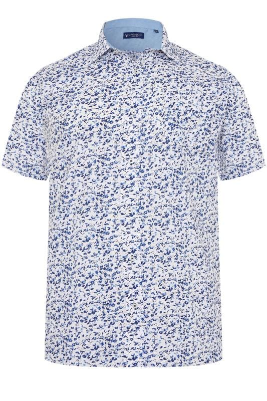 Großen Größen Casual / Every Day CARABOU Blue Floral Print Short Sleeve Shirt