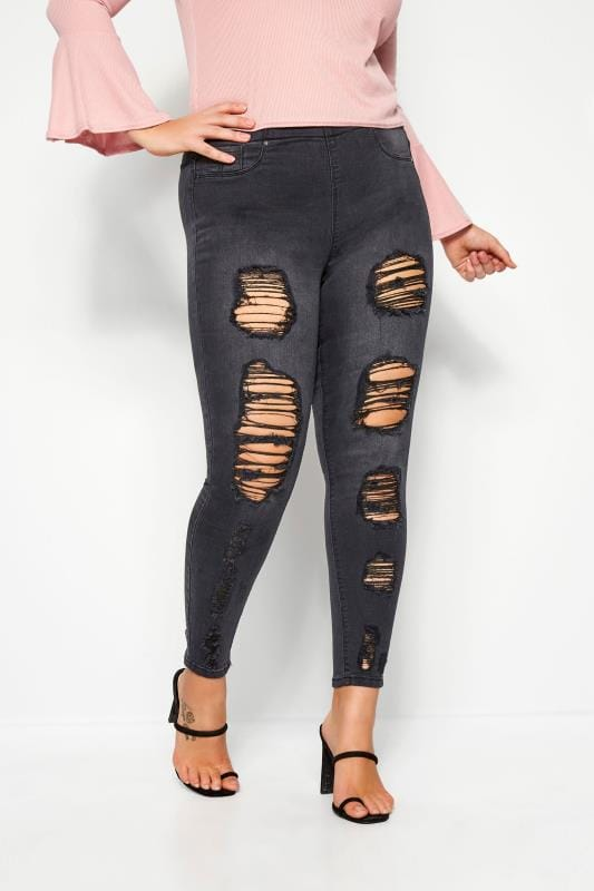 Plus Size Jeggings Charcoal Extreme Distressed JENNY Jeggings
