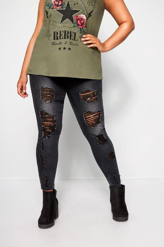 Plus Size Jeggings Charcoal Extreme Distressed Jegging