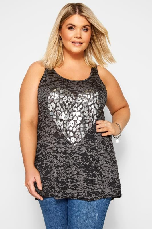 Plus Size Vests & Camis Charcoal Grey Burnout Foil Heart Vest Top