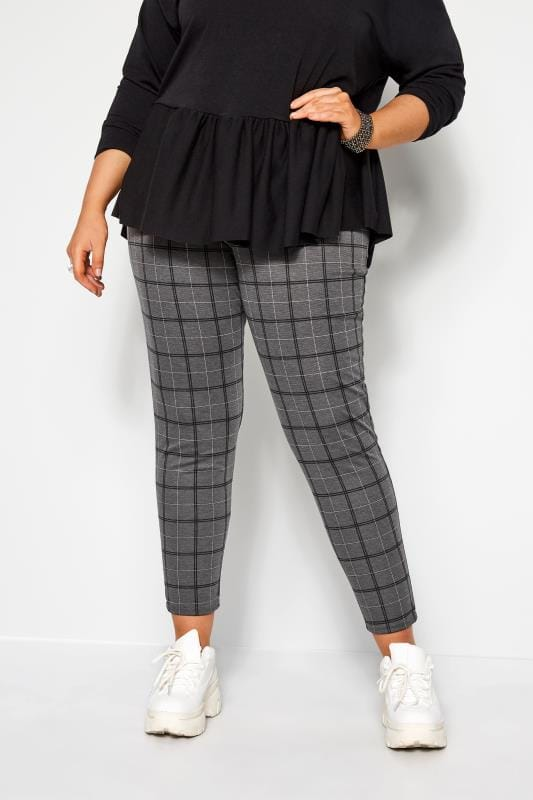 Plus Size Harem Trousers Charcoal Grey Check Ponte Trousers