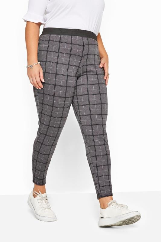 Charcoal Grey Check Ponte Trousers