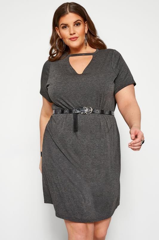 Charcoal Grey Choker T-Shirt Dress