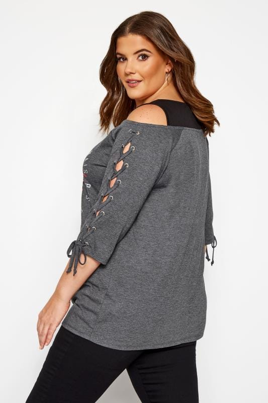 Charcoal Grey Cold Shoulder Slogan Top