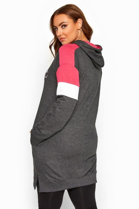 Charcoal Grey Colour Block Longline Hoodie