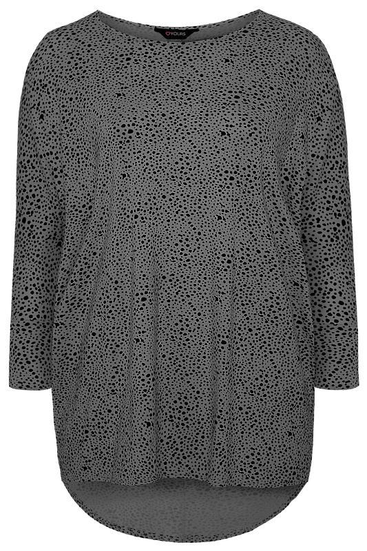 Charcoal Grey Dalmatian Print Extreme Dipped Top