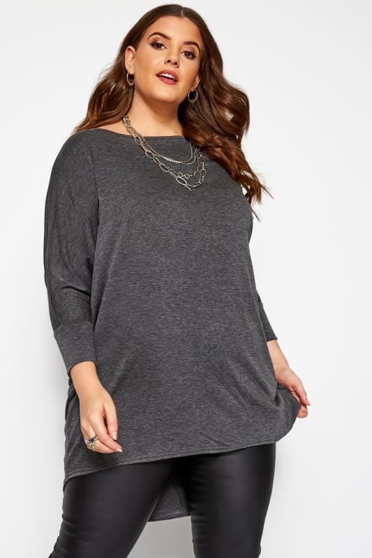 Charcoal Grey Extreme Dipped Hem Top