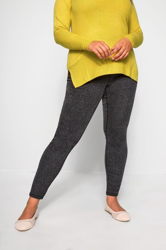 Plus Size Jeggings Charcoal Grey Leopard Print JENNY Jeggings