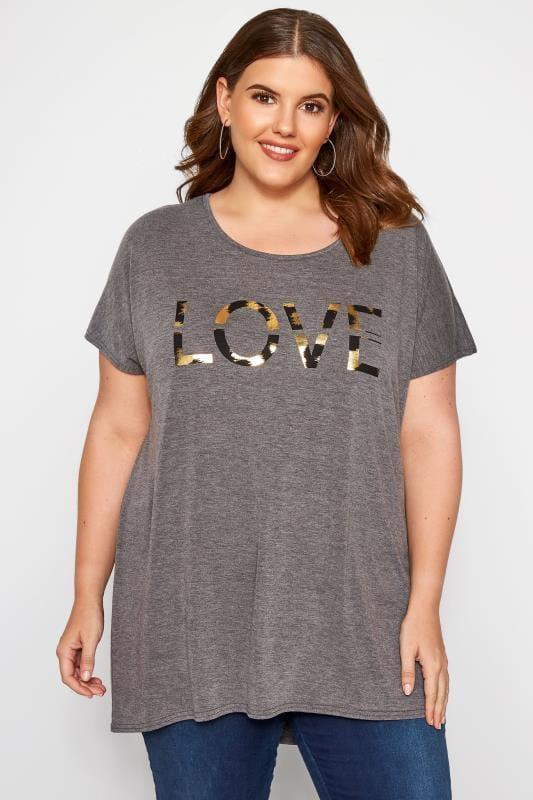 Charcoal Grey 'Love' Slogan T-Shirt