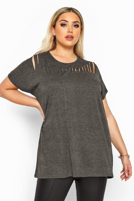 Plus Size Basic T-Shirts & Vests Charcoal Grey Marl Laser Cut Jersey Top