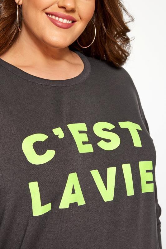 Charcoal Grey Neon Slogan Sweatshirt