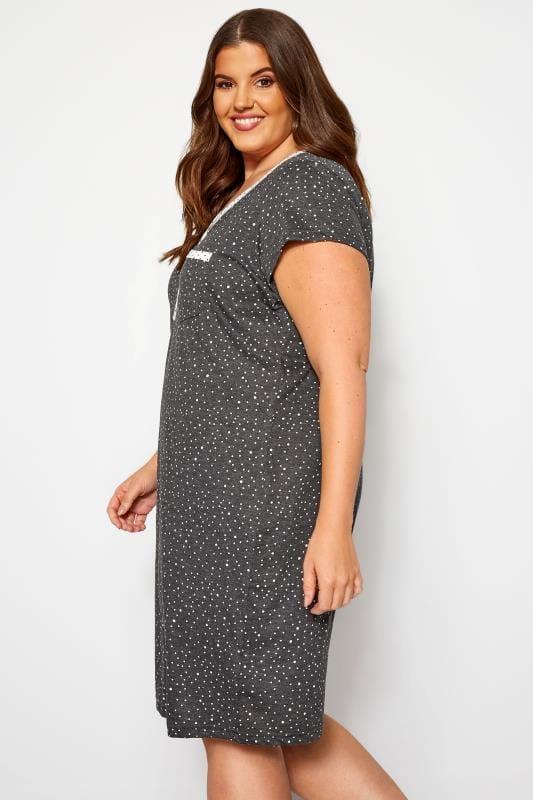 Charcoal Grey Polka Dot Nightdress
