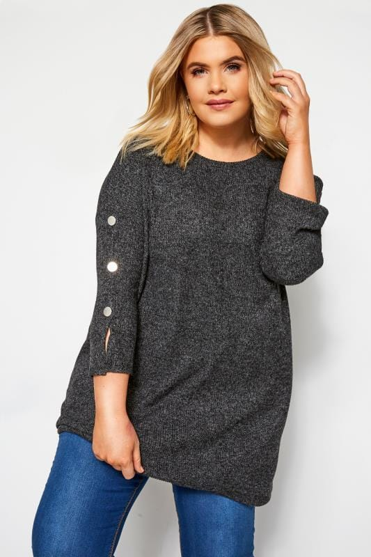 Plus Size Knitted Tops Charcoal Grey Ribbed Button Knitted Top