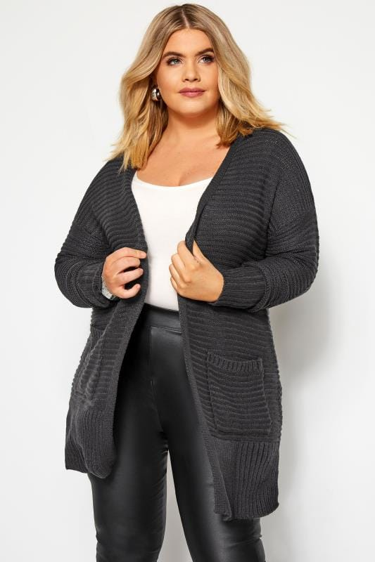 Plus Size Knitted Cardigans Charcoal Grey Ribbed Cardigan