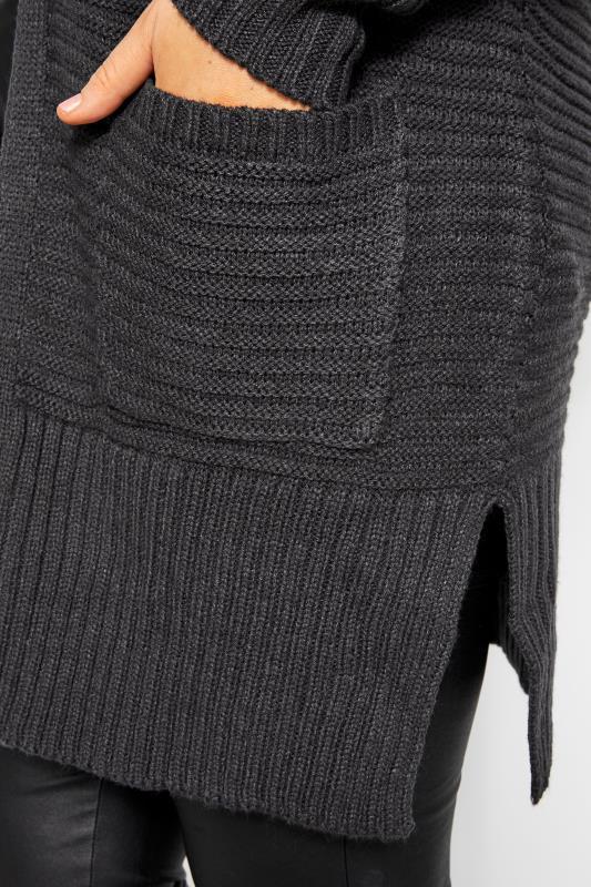 Charcoal Grey Ribbed Cardigan