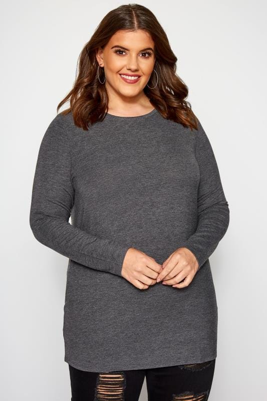 Plus Size Basic T-Shirts & Vests Charcoal Grey Scoop Neck Jersey Top