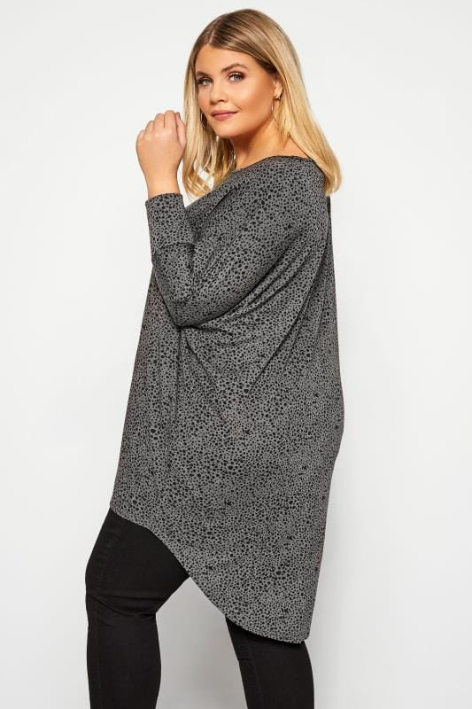 Charcoal Grey Dalmatian Print Extreme Dipped Top