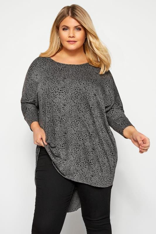 Plus Size Dipped Hem Tops Charcoal Grey Dalmatian Print Extreme Dipped Top