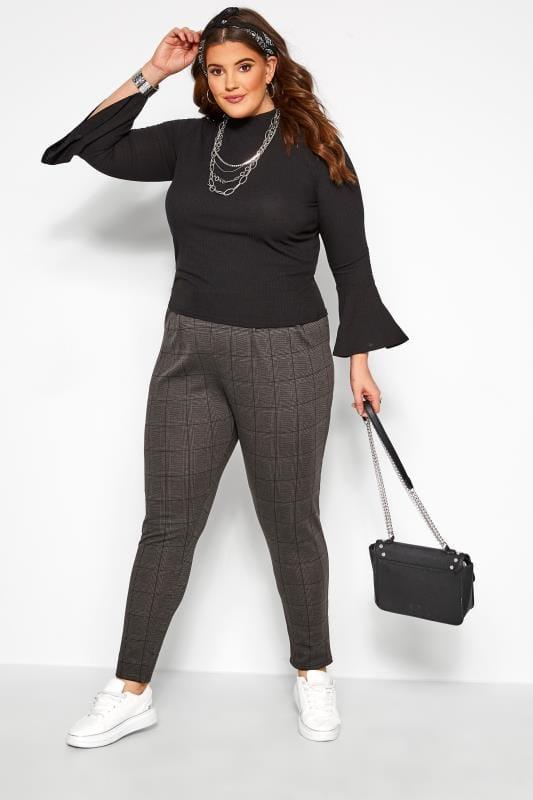 Plus Size Harem Trousers Grey Check Double Pleat Harem Trousers