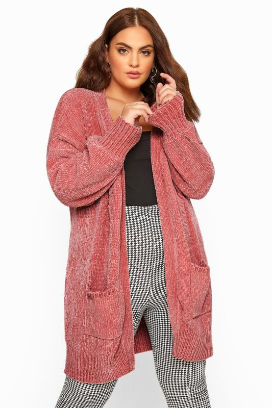 Plus Size Cardigans Pink Balloon Sleeve Chenille Knitted Cardigan