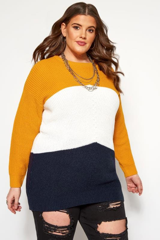 Plus Size Jumpers Mustard Colour Block Chevron Knitted Jumper