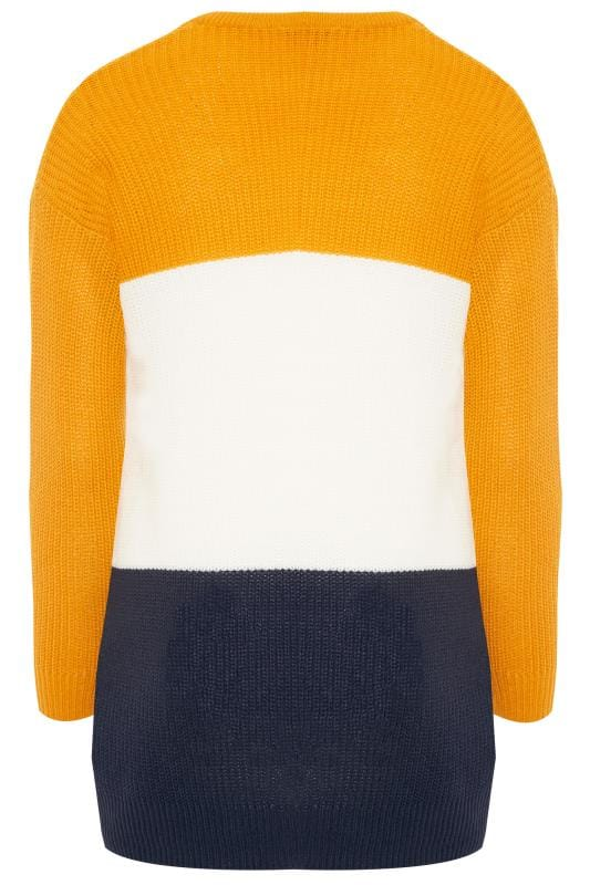 Mustard Colour Block Chevron Knitted Jumper