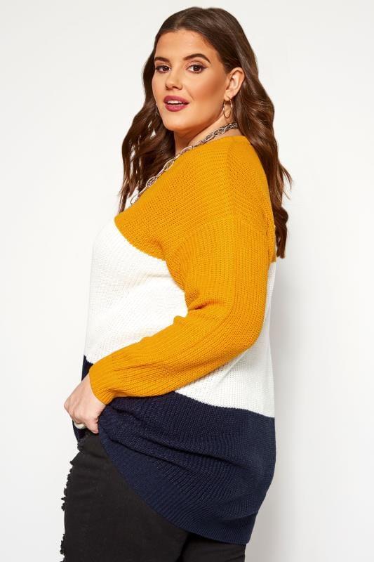 Mustard Colour Block Chevron Knitted Jumper