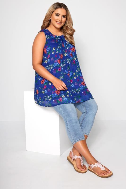 Cobalt Blue Floral Print Chiffon Vest Top