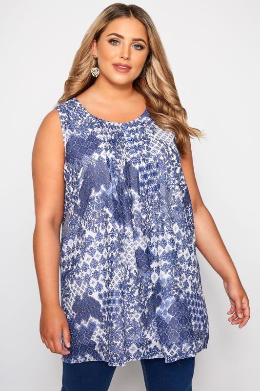 Plus Size Day Tops Blue & White Tile Print Chiffon Vest Top