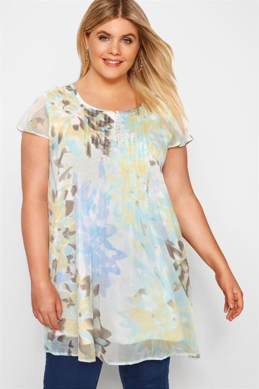 Plus Size Chiffon Blouses White & Turquoise Floral Capped Sleeve Chiffon Blouse