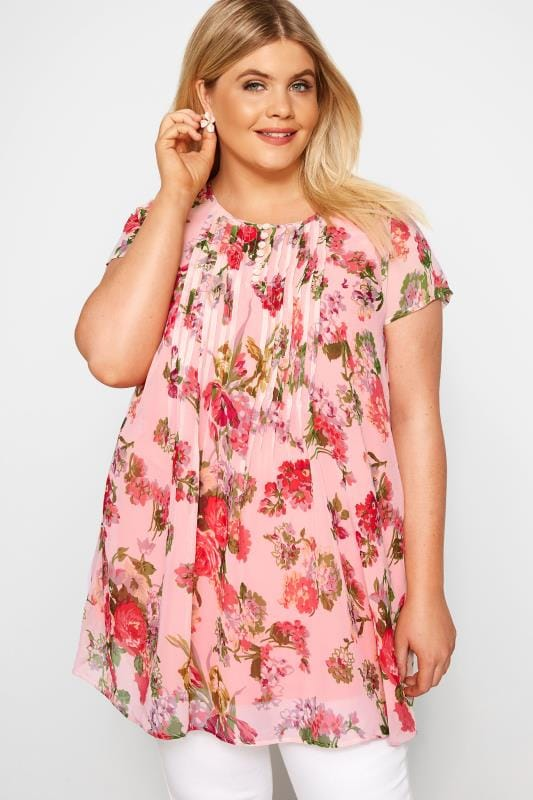 Plus Size Chiffon Blouses Pink Floral Capped Sleeve Chiffon Blouse