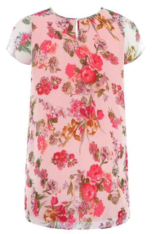 Pink Floral Capped Sleeve Chiffon Blouse