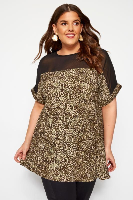 Plus Size Longline Tops Brown Leopard Chiffon Top