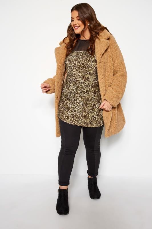 Brown Leopard Chiffon Top