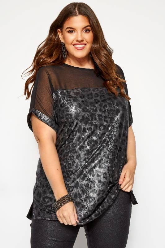 Plus Size Day Tops Black Snake Chiffon Top