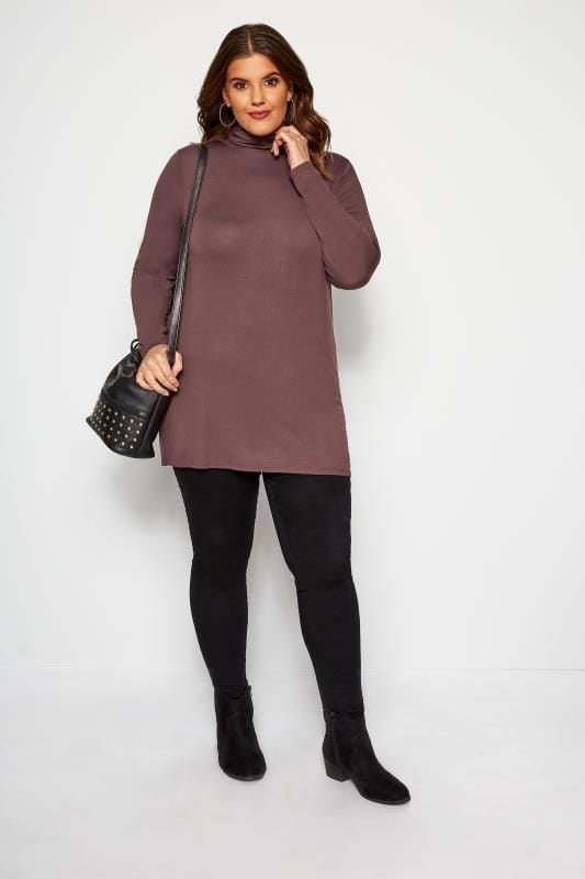 Chocolate Turtle Neck Top