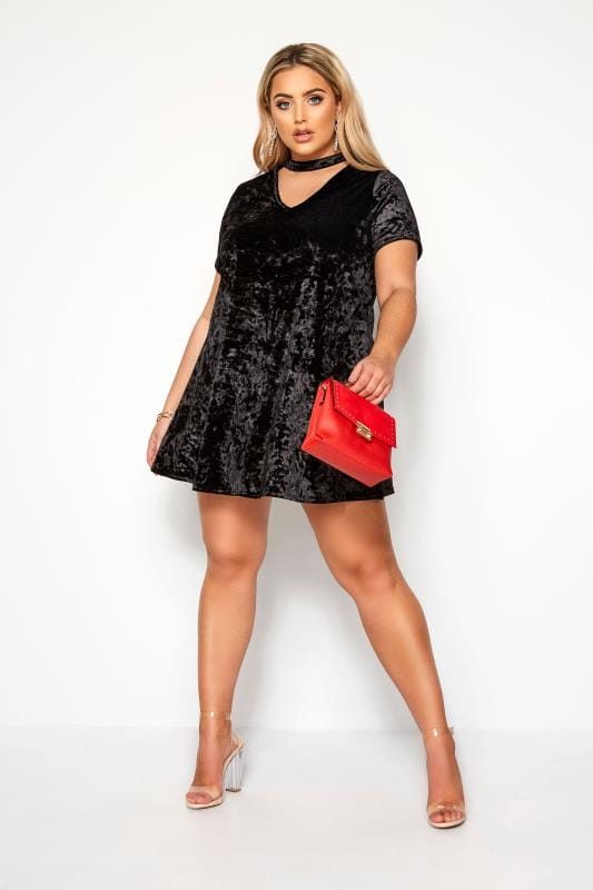 Limited Collection Black Velour Choker Swing Dress Yours