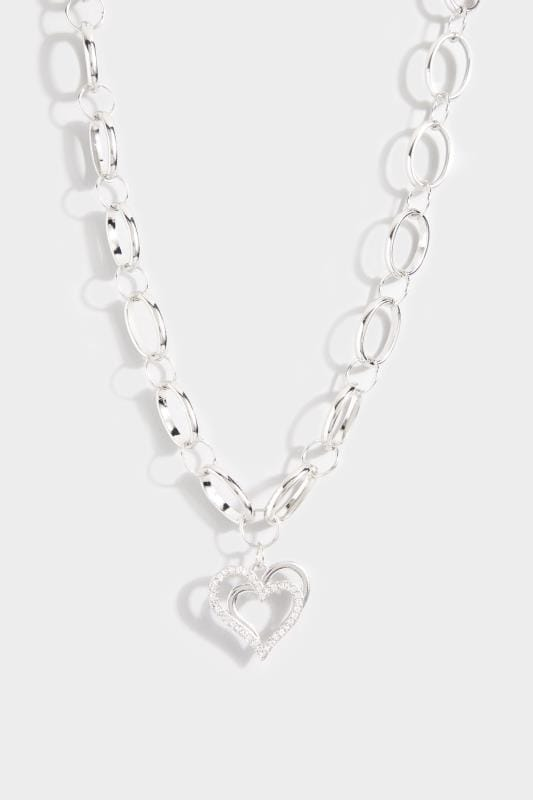 Silver Heart Pendant Chunky Necklace