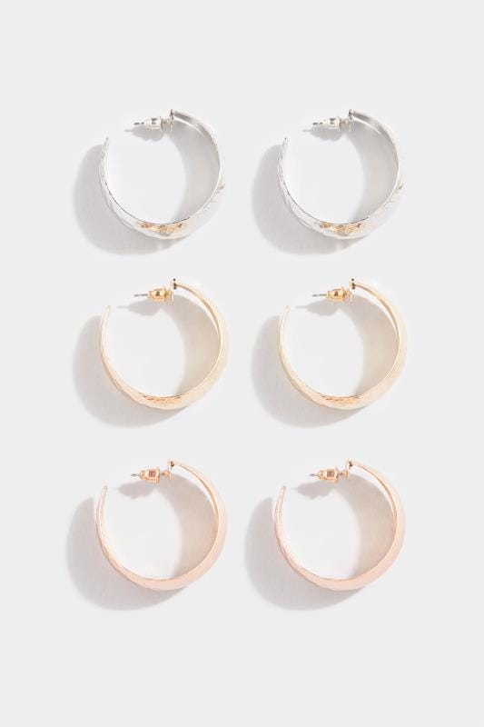 3 PACK Textured Chunky Hoop Earrings