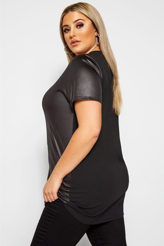 LIMITED COLLECTION Black Leather Look Contrast Top