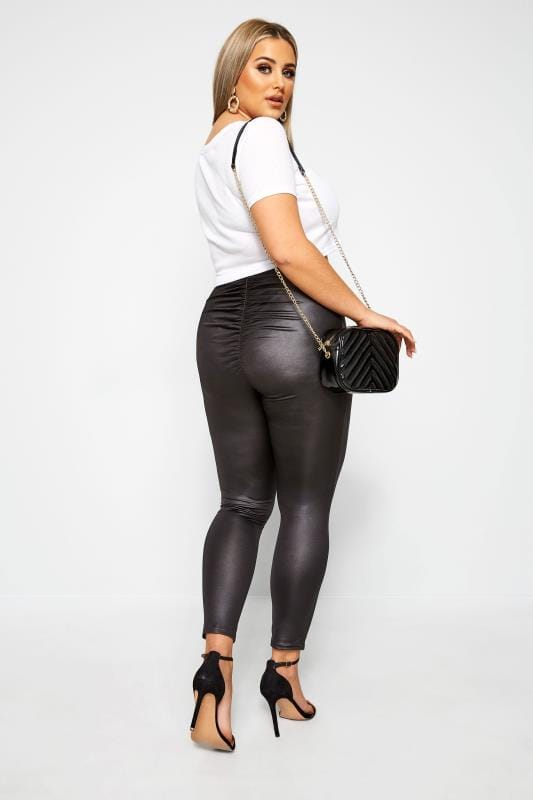 LIMITED COLLECTION Black Slinky Ruched Leggings